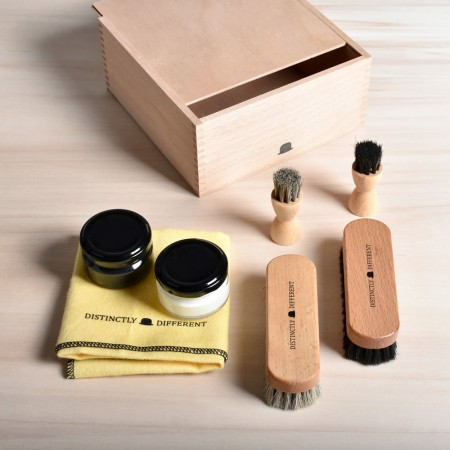 Shoe Shine Box with Distinctly Different Shoe Care Set