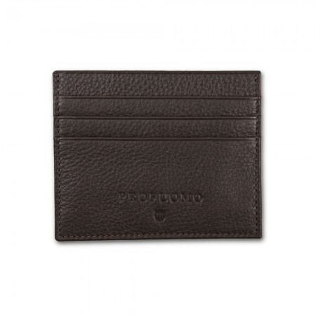 Leather Card Wallet By Profuomo - Brown