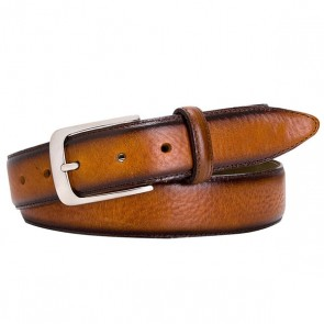 Cognac polished Leather Belt By Profuomo