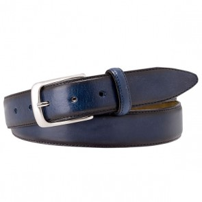 Navy polished Leather Belt By Profuomo