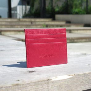 Leather Card Wallet By Profuomo - Red